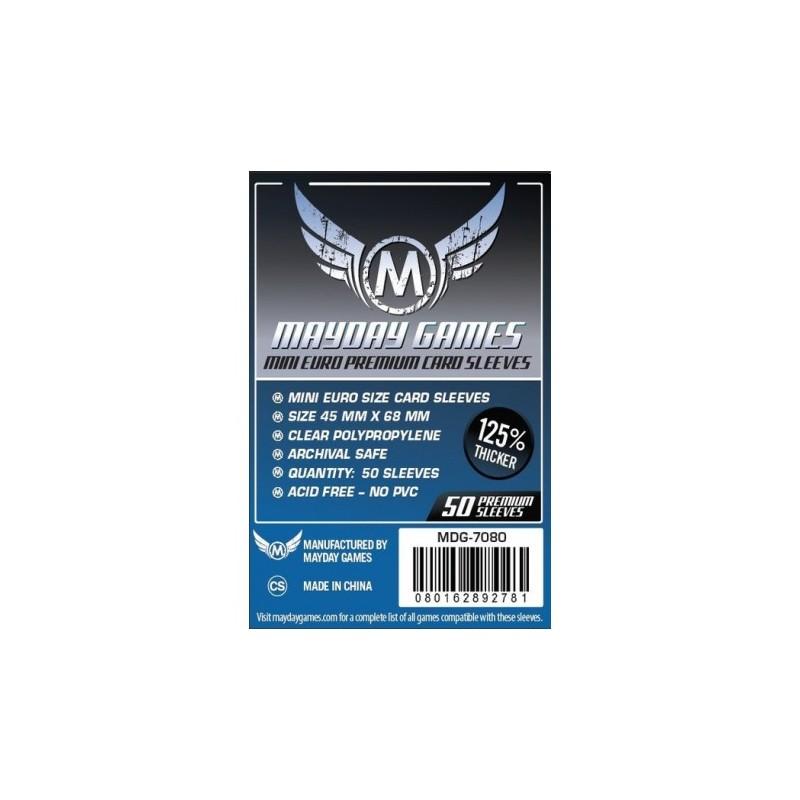 [7080] Mayday Games Premium Mini Euro Card Sleeves Dark Blue (Pack of 50) (45x68mm)